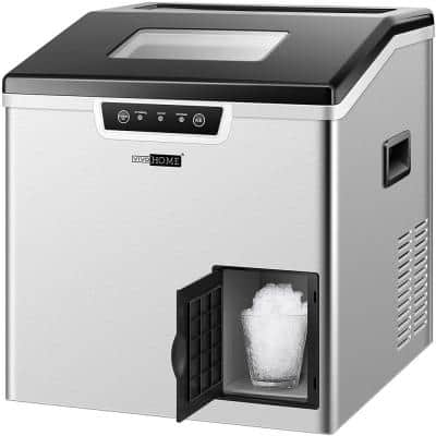 Electric 44 lbs./Day 2-in-1 Portable Square Ice Maker and Shaver Machine in Silver