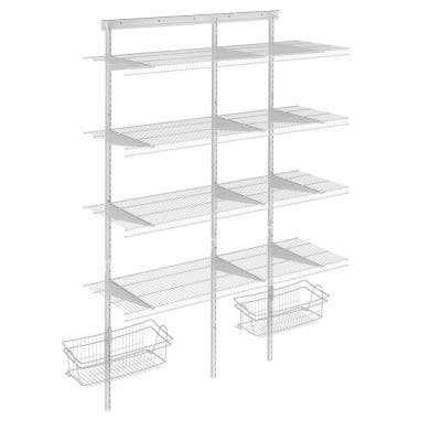 Shelftrack 16.75 in. D x 48 in. W x 84 in. H White Wire Adjustable Pantry Closet Kit with Baskets