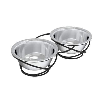 40 oz. Stainless Steel Elevated Pet Bowls with 3.5 in. Tall Stand (Set of 2)