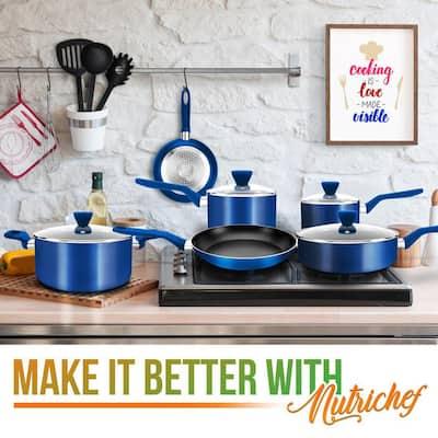 13-Piece Aluminum Cookware Set Non-Stick in Blue