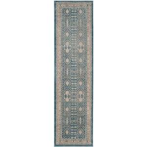 Sofia Blue/Beige 2 ft. x 10 ft. Geometric Border Runner Rug