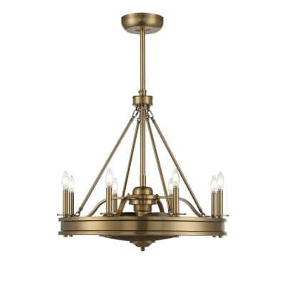 30 in. Warm Brass Ceiling Fan with Light