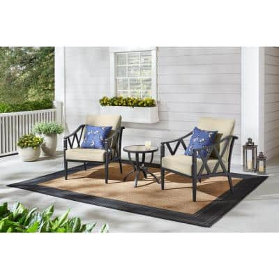 Harmony Hill 3-Piece Black Steel Outdoor Patio Stationary Conversation Set with CushionGuard Putty Tan Cushions