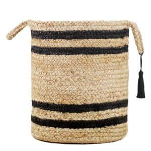 Double Striped Natural Jute Tan / Black 17 in. Decorate Storage Basket with Handles