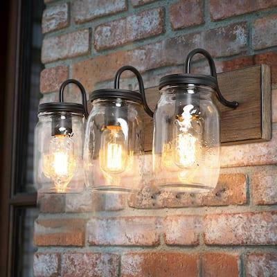 Dallas Farmhouse 3-Light Black Bathroom or Powder Room Wall Sconce with Mason Jar Shades and Wood Accents
