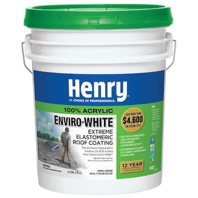 687 EnviroWhite 100% Acrylic Reflective Elastomeric Roof Coating w/ Dirt PickUp Resistance Technology (24-Piece)