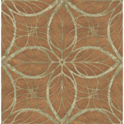 Patina Lattice Metallic Bronze and Green Geometric Paper Strippable Roll (Covers 56.05 sq. ft.)