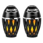 Black Bluetooth Speakers with LED Atmospheric Lighting Effect (2-Pack)