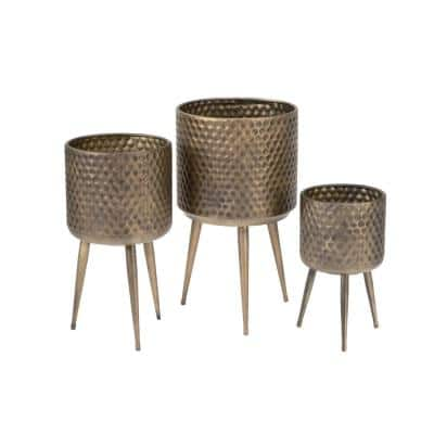 21.6 in. Burnished Gold Metal Indoor Plant Stand (Set of 3)