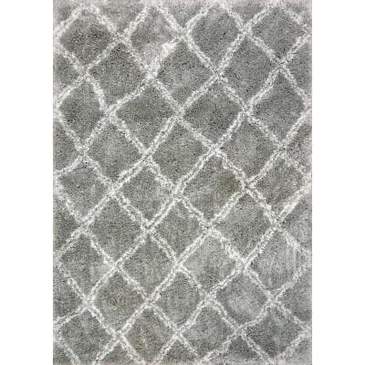 Nordic Silver/White 5 ft. 3 in. x 7 ft. 7 in. Trellis Area Rug