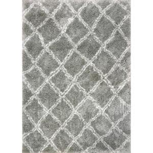 Nordic Silver/White 7 ft. 5 in. x 10 ft. 6 in. Trellis Area Rug
