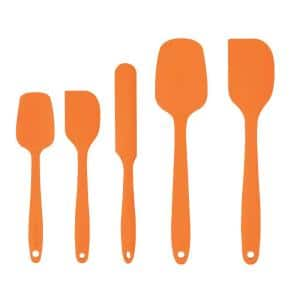 Orange Non-Stick Silicone Spatula Set with Heat Resistant & Stainless Steel Core, Set of 5