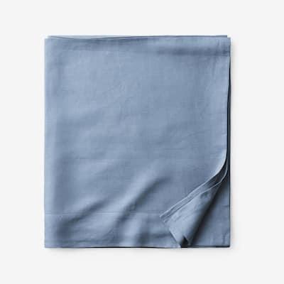 Legends Hotel Relaxed Denim Blue Solid Linen Queen Flat Sheet