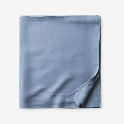 Legends Hotel Relaxed Denim Blue Solid Linen Twin Flat Sheet