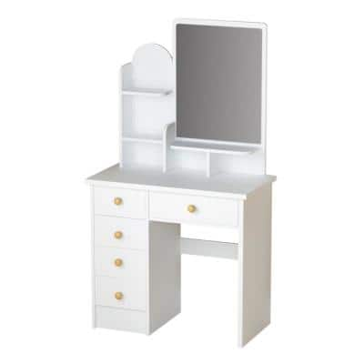 5-Drawers White Makeup Vanity Table Dressing Desk With Mirror and 3-Tier Storage Shelves Girls Wooden Dressing Table
