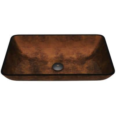 Glass Rectangular Vessel Bathroom Sink in Chocolate Brown