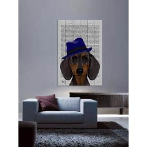 18 in. H x 12 in. W ''Dachshund with Blue Trilby'' by Marmont Hill Printed White Wood Wall Art
