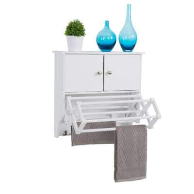 Accordion White Extendable Drying Rack with Cabinet