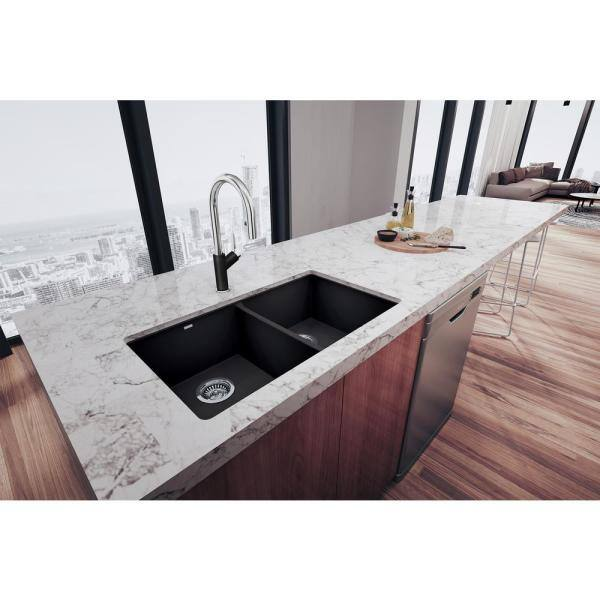 Blanco Precis Undermount Granite Composite 29 75 In 50 Double Bowl Kitchen Sink Anthracite 516322 The Home Depot