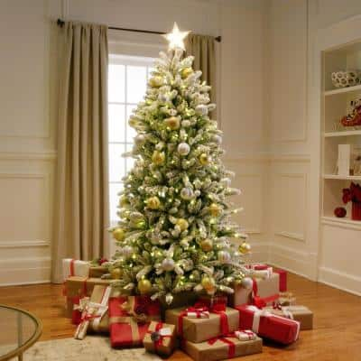 6.5 ft. Pre-Lit Led Flocked Balsam WRGB Artificial Christmas Tree