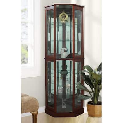 Floor Standing Walnut 5-Sided Lighted Corner Curio Cabinet