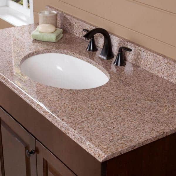 St Paul 49 In W Stone Effects Composite Vanity Top In Sienna With White Sink Seo4922 Si The Home Depot