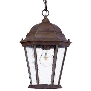 Richmond Collection 1-Light Hanging Outdoor Burled Walnut Lantern