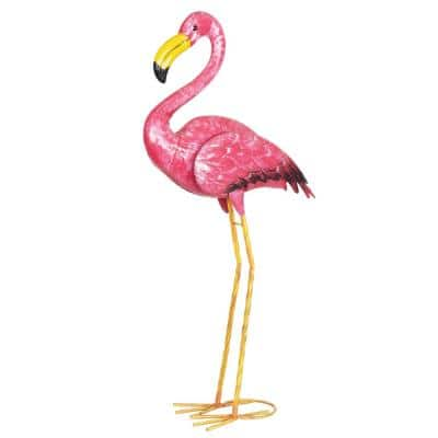 Pink Metal Flamingo Statue