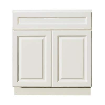 Newport Assembled 24 in. W x 21 in. D x 34.5 in. H Vanity Cabinet with 2 Doors in Classic White