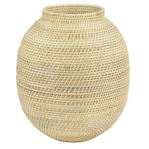 Large Decorative Handwoven Natural Beige Bamboo Vase