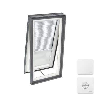 22-1/2 in. x 46-1/2 in. Venting Curb Mount Skylight w/ Tempered Low-E3 Glass & White Solar Powered Room Darkening Blind
