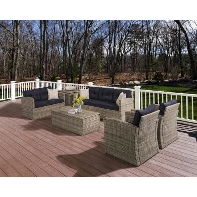 6-Piece Wicker/Rattan Metal Outdoor Patio Sectional Conversation Seating Set with Navy Blue Cushions