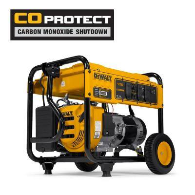 DeWALT 6,500-Watt Gasoline Powered Manual Start Portable Generator with Idle Control, Covered Outlets and CO Protect