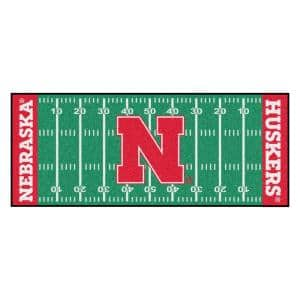 University of Nebraska 3 ft. x 6 ft. Football Field Rug Runner Rug