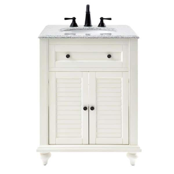 Home Decorators Collection Hamilton Shutter 25 In W X 22 In D Bath Vanity In Ivory With Granite Vanity Top In Grey 10806 Vs25h Dw The Home Depot