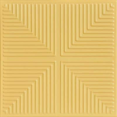 Pyramid Illusion 1.6 ft. x 1.6 ft. Glue Up Foam Ceiling Tile in Concord Ivory