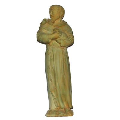 Cast Stone St. Francis Garden Statue Weathered Bronze