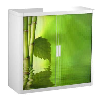 Paperflow easyOffice 41 in. Tall with 2-Shelves Storage Cabinet in Bamboo with Leaf