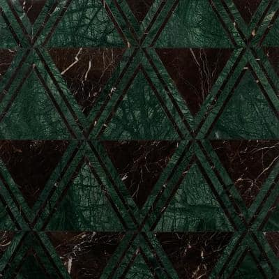 Ruit Green 13.54 in. x 15.63 in. Polished Marble Mosaic Tile (1.47 sq. ft./Each)