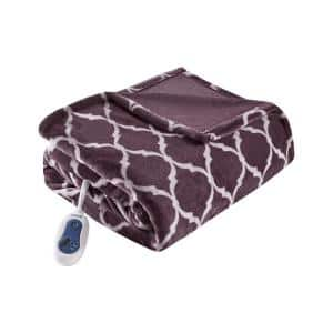 Heated Ogee Purple 60 in. x 70 in. Throw