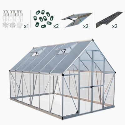 Balance 8 ft. x 12 ft. Silver Polycarbonate Greenhouse Including Accessory Combo Pack