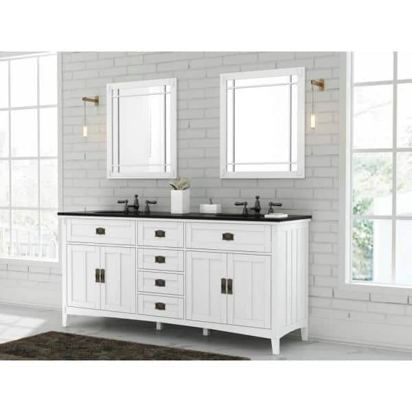 Home Decorators Collection Artisan 72 In W Vanity In White With Marble Vanity Top In Natural Black With White Sink Md V1759 The Home Depot