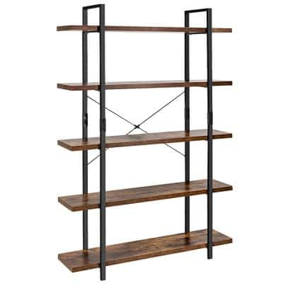 70 in. Brown Wood 5 -Shelf Standard Bookcase with Anti-tip Device