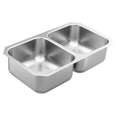 1800 Series Stainless Steel 31.75 in. Double Bowl Undermount Kitchen Sink with 8 in. Depth