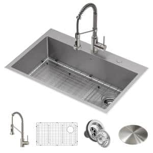 Loften All-in-One Dual Mount Stainless Steel 33in. Single Bowl Kitchen Sink with Pull Down Faucet in Spot Free Stainless