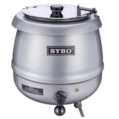 SYBO 10.5 Quarts Sliver Commercial Soup Kettle with Detachable Stainless Steel Insert Pot for Restaurant
