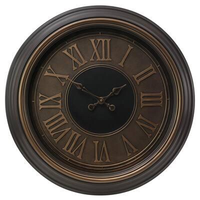 "kieragrace KG Genoa Oversized Wall Clock with Raised Roman Numerals - Antiqued Bronze with Copper Bezel, 23"""