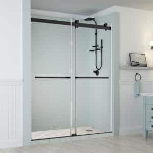 Rivage 56 in. to 60 in. x 76 in. Frameless Sliding Double-Bypass Sliding Shower Door in Oil Rubbed Bronze
