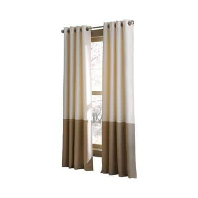 Ivory Color Block Grommet Sheer Curtain - 52 in. W x 63 in. L
