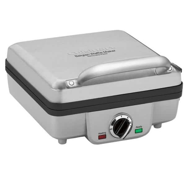 4-Waffle Stainless Steel Belgian Waffle Maker with Recipe Book